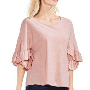 Vince Camuto | Blush Pink Tiered Ruffle Sleeve Top